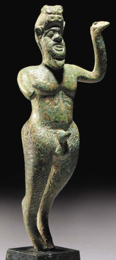 A GREEK BRONZE FIGURE OF ITHYP