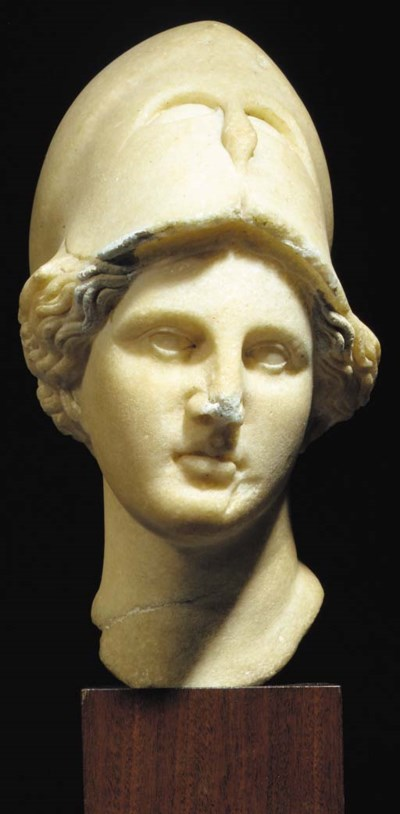 A MARBLE HEAD OF ATHENA