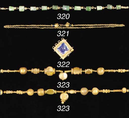 A ROMAN GOLD AND BERYL BEAD NE