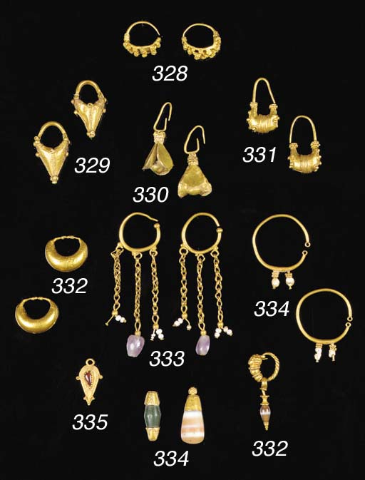 TWO PAIRS OF GOLD HOOP EARRING