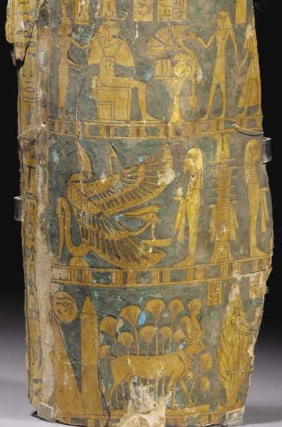 AN EGYPTIAN LINEN GESSO-PAINTE
