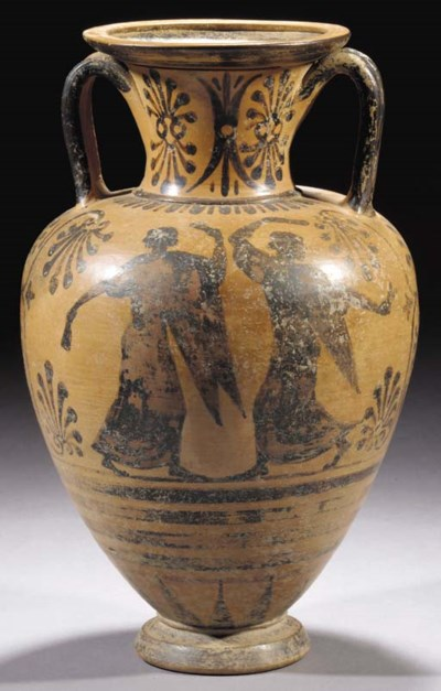 AN ETRUSCAN BLACK-FIGURE AMPHO