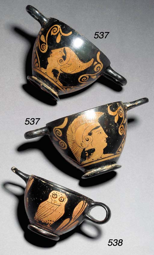 TWO ATTIC RED-FIGURE SKYPHOI