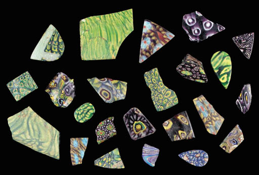 A LARGE GROUP OF MOSAIC GLASS