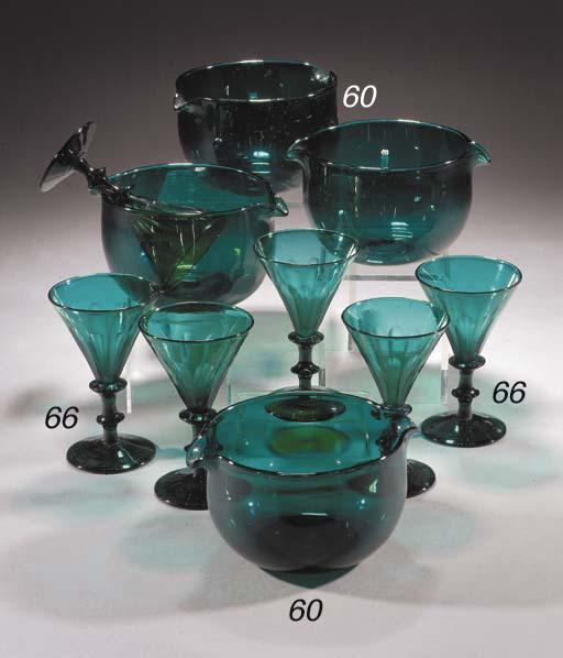 Eight green wine glasses