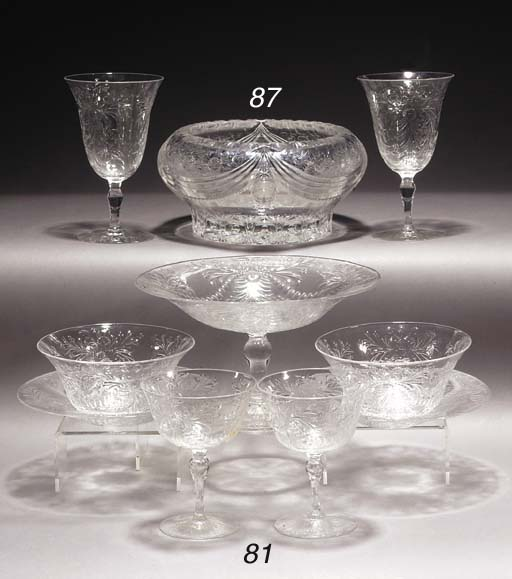 An engraved part table service