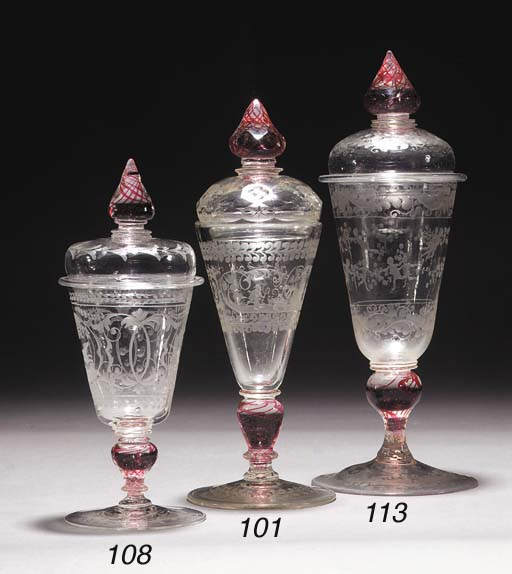 A Bohemian engraved goblet and