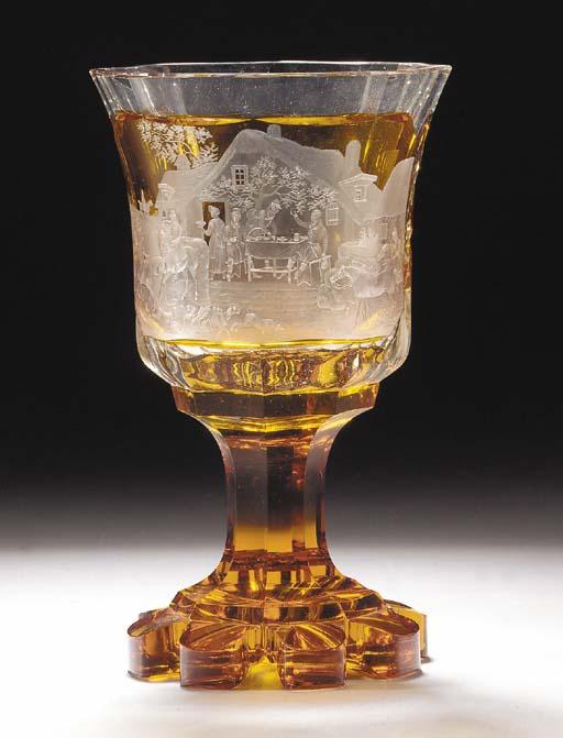 A Bohemian amber flash goblet