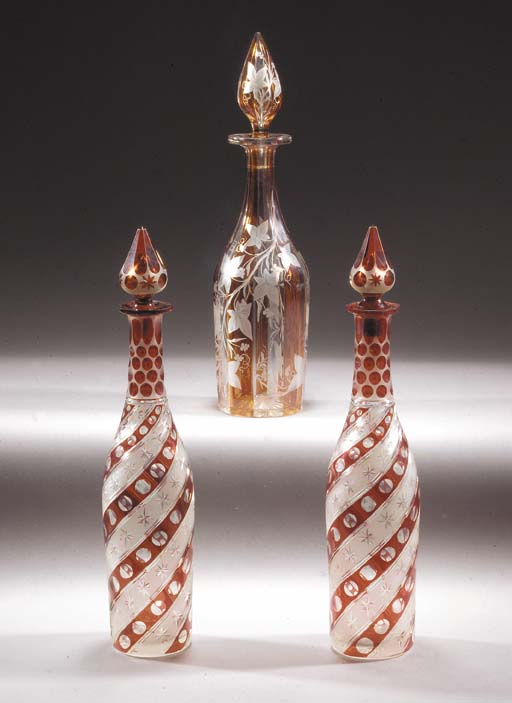 A pair of Bohemian ruby staine