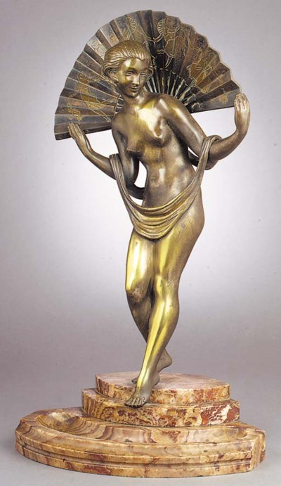 A silvered and patinated bronz