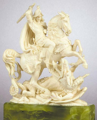 A rare ivory figure of St. Geo