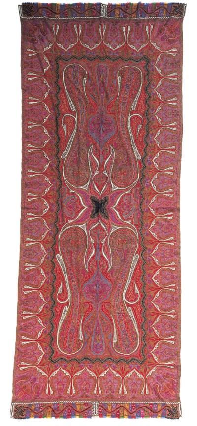 A long patchwork jamawar shawl