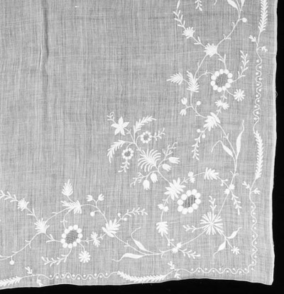 An embroidered shawl of white