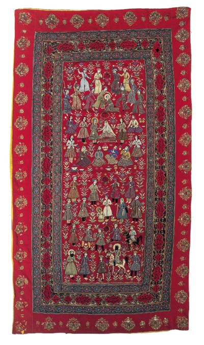 An embroidered hanging of red