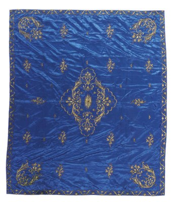 A hanging of bright blue satin