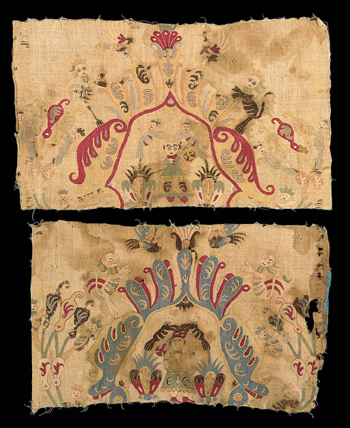 Two embroidered fragments,