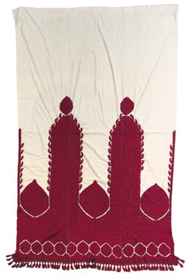 An embroidered curtain,