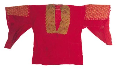 An embroidered dress of red mu