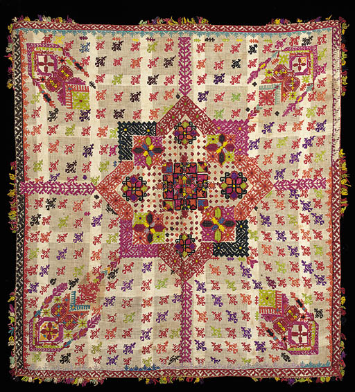 An embroidered panel,