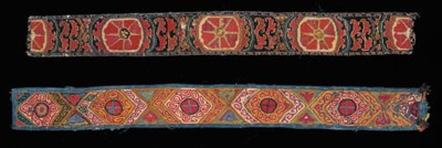 An embroidered belt,