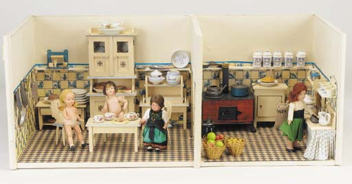 A dolls' room setting of a kit