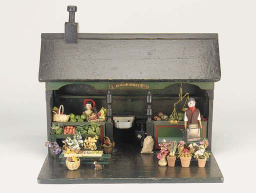 A wood greengrocer's open shop