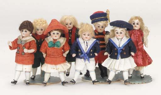 All-bisque dolls' house dolls