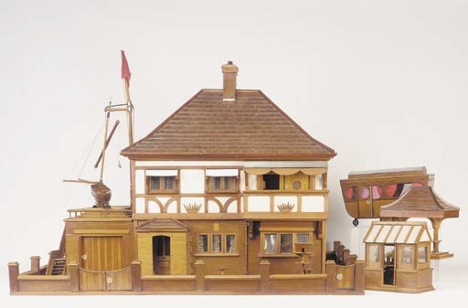 A homemade wooden dolls' house