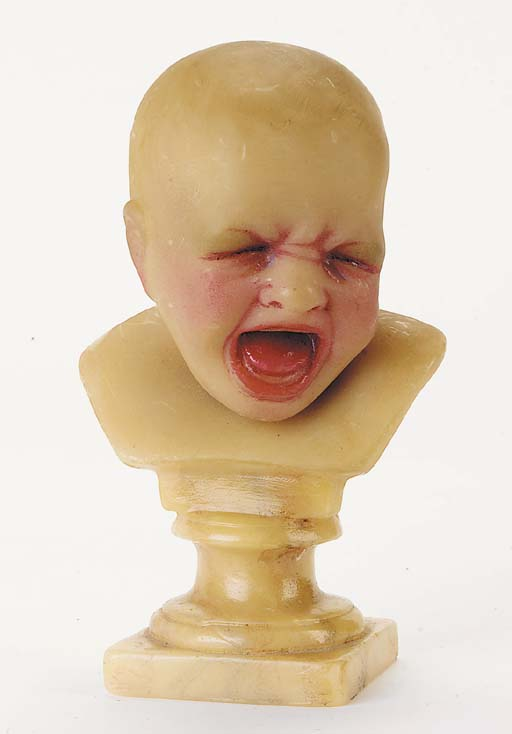 A glazed and painted wax bust