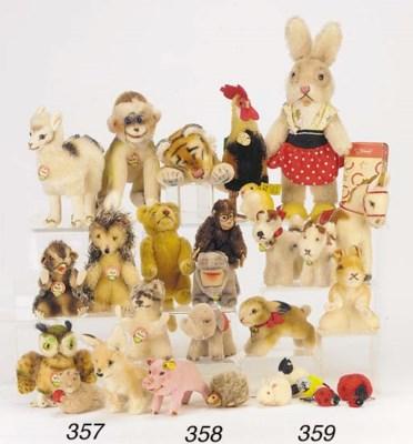 Steiff rabbits, dogs and farm