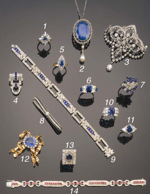 A SAPPHIRE AND DIAMOND SEVEN S