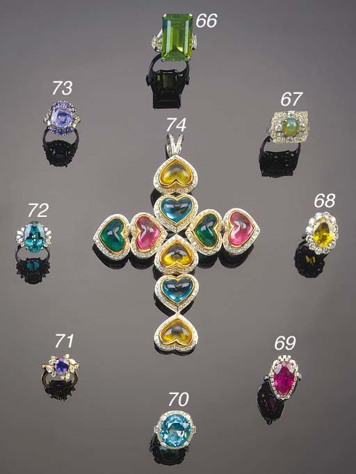 A TANZANITE AND DIAMOND CLUSTE