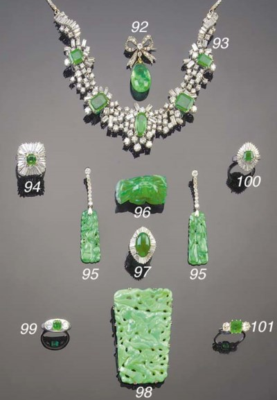 AN EMERALD AND DIAMOND CLUSTER