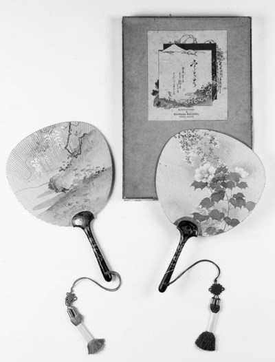 A pair of Japanese handscreens