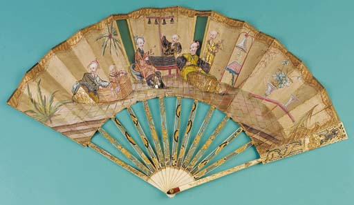 A chinoiserie fan, painted wit