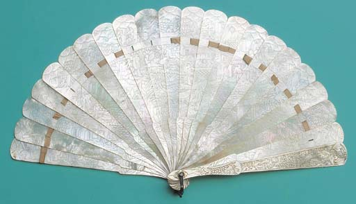 A mother of pearl brise fan, c