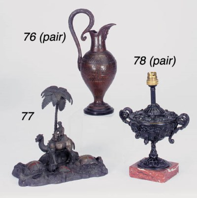A pair of Victorian bronzed me