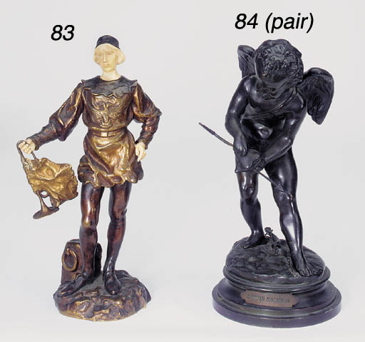 A Spanish bronze and ivory mou