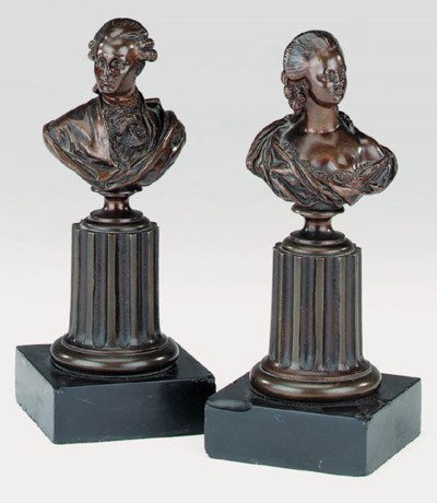 A pair of French patinated bro