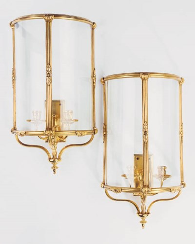 A pair of gilt bronze and glas