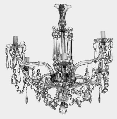 A cut glass six light chandeli