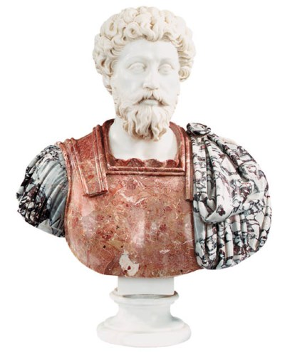 A sculpted marble bust of an A