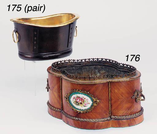 A pair of Victorian brass jard