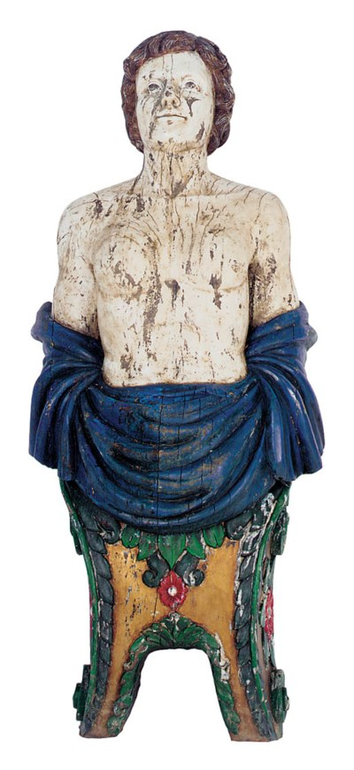 A large carved and polychrome