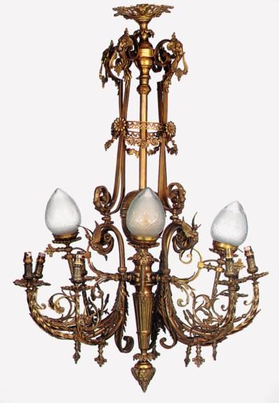 A Continental gilt bronze twel