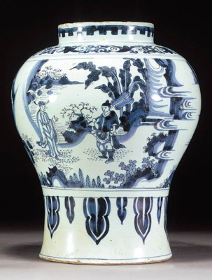 A Delft blue and white baluste