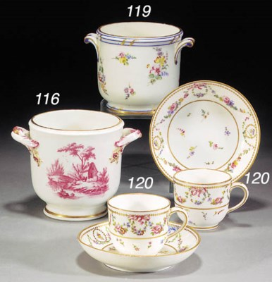Two Sèvres cups and saucers (G