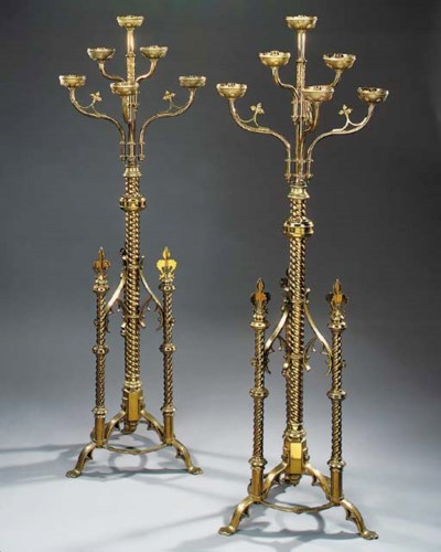 A pair of Victorian brass floo