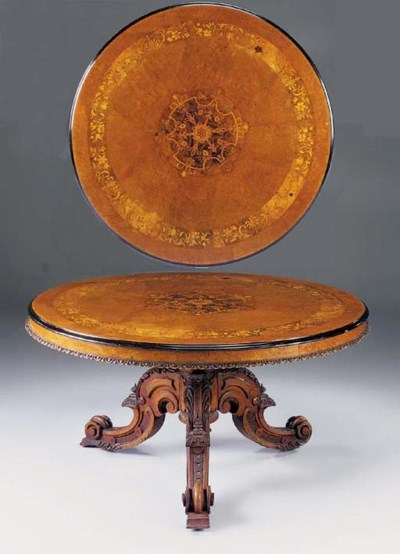 A VICTORIAN ROSEWOOD AND MARQU
