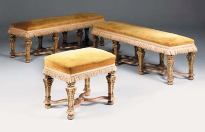 A PAIR OF CARVED GILTWOOD LONG